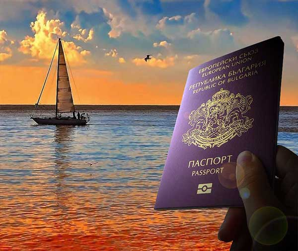 Bulgarian passport at sunset